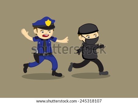Vector cartoon illustration of a police officer chasing after and trying to catch a masked thief. - stock vector