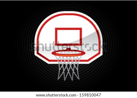 Vector cartoon illustration of a red and white basketball net - stock vector