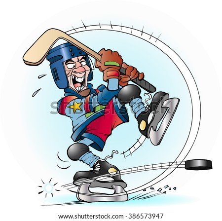 Vector cartoon illustration of a slap shot in hockey - stock vector
