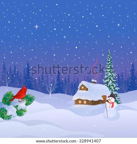 Vector cartoon illustration of a snowy log cabin, cute snow man and cardinal bird, square background - stock vector