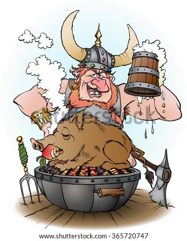 Vector cartoon illustration of a viking invites to party - stock vector