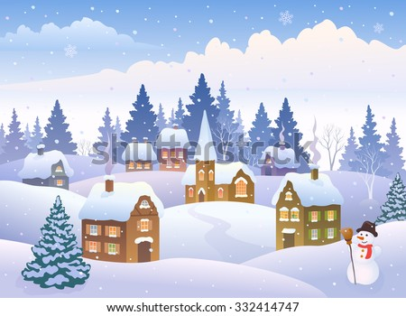 Vector cartoon illustration of a winter landscape with a small snowy town and a snow man - stock vector