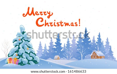Vector cartoon illustration of a winter snow covered landscape isolated on white background, with handwritten Merry Christmas text - stock vector