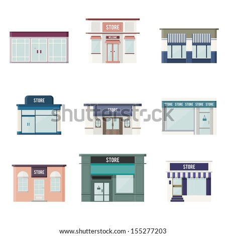 Vector cartoon illustration of flat 3d styled stores. - stock vector