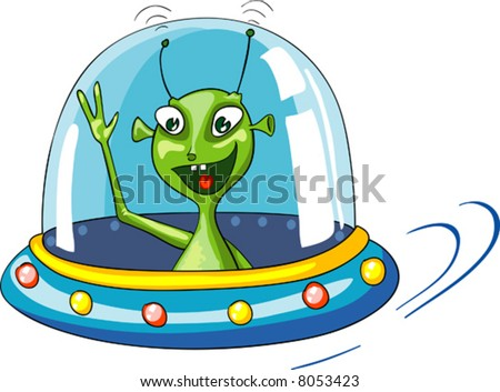 vector cartoon illustration of funny green alien in spaceship on white background - stock vector