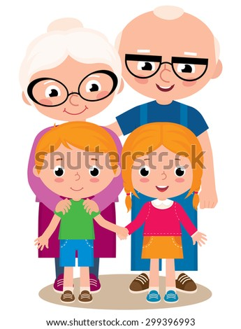 Vector cartoon illustration of grandparents with their grandchildren boy and girl isolated on white background/Vector illustration of grandparents and their grandchildren/Stock Vector illustration - stock vector