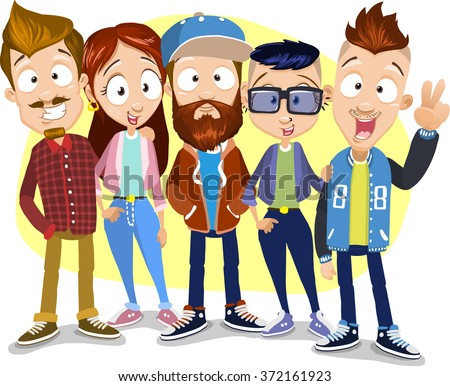 Vector cartoon illustration of group of young friends staying on the yellow background. Characters wearing sportswear, enjoying hipster lifestyle, having great hairstyles. - stock vector
