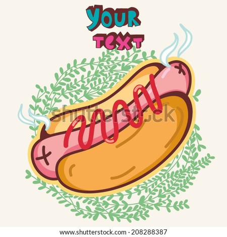 Vector cartoon illustration of hot dog in bright colors. - stock vector