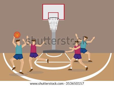 Vector cartoon illustration of red and blue team basketball players playing basketball game in indoor court. - stock vector