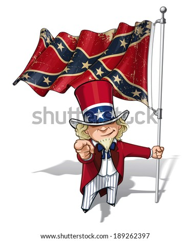 Vector Cartoon Illustration of South Uncle Sam holding a waving a American civil war South Flag (Stars and Bars). Flag's texture and sepia color can be removed by turning the respective layers off. - stock vector