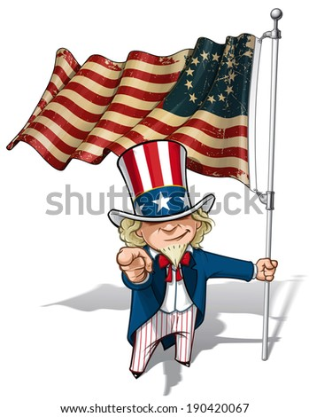 """Vector Cartoon Illustration of Uncle Sam holding a Betsy Ross American flag, pointing """"I want you"""". Flag's texture and sepia color can be removed by turning the respective layers off. - stock vector"""