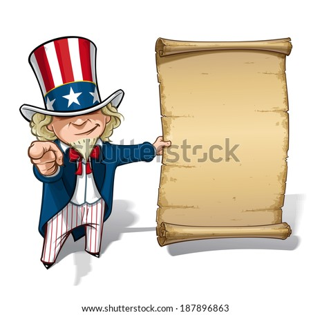 "Vector Cartoon Illustration of Uncle Sam holding a declaration-like papyrus and pointing ""I want you"" like the classic WWI poster - stock vector"