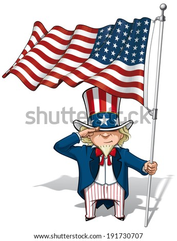 Vector Cartoon Illustration of Uncle Sam saluting and holding a 48 star American flag. This was the US Flag during both World Wars and the Korean war - stock vector