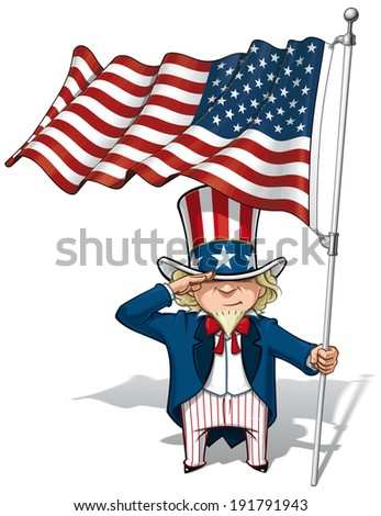 Vector Cartoon Illustration of Uncle Sam saluting and holding a waving American flag. - stock vector