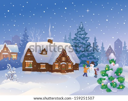 Vector cartoon illustration of xmas suburb houses and kids making a snowman at snowy evening - stock vector
