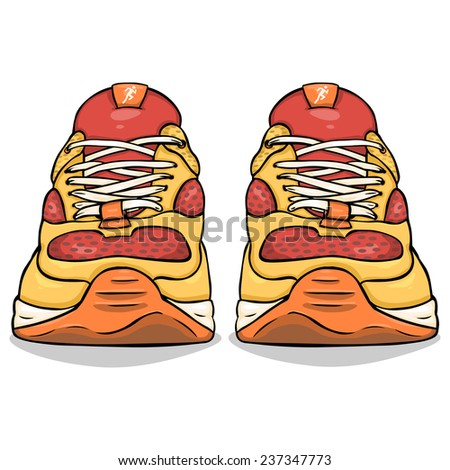 Vector Cartoon Illustration - Single Red and Yellow Running Shoes. Front View. - stock vector