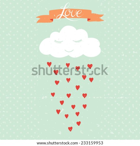 Vector cartoon illustration with cloud and rain of hearts. Can be used for wallpapers, web page backgrounds, Valentine or romantic card, wedding invitation - stock vector