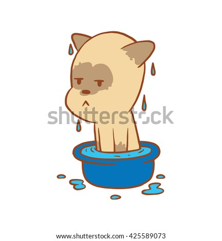 Vector cartoon image of a cute little beige-gray displeased cat sitting in a basin with water on a white background. Color image with a brown tracings. Kitten. Positive character. Vector illustration. - stock vector