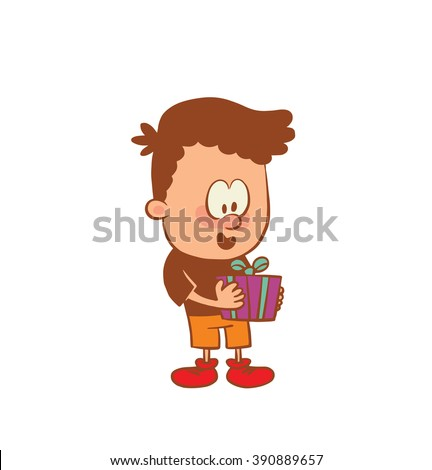 Vector cartoon image of a cute little boy in orange shorts and brown t-shirt with a gift in his hands on a white background. Color image with brown tracings. Positive character. Vector illustration. - stock vector