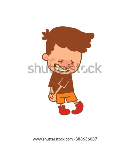 Vector cartoon image of a cute little boy in orange shorts, t-shirt with guilty expression on his face on a white background. Color image with a brown tracings. Positive character Vector illustration - stock vector