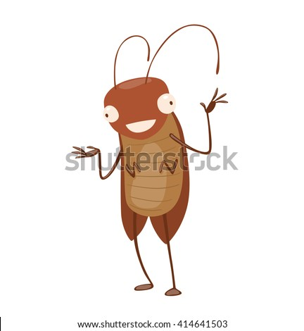 Vector cartoon image of a funny brown cockroach with antennae and six legs standing and smiling on a white background. Anthropomorphic cartoon cockroach. Vector illustration. - stock vector