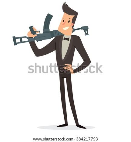 Cartoon agent gun secret stock photos images pictures shutterstock - Hamster agent secret ...