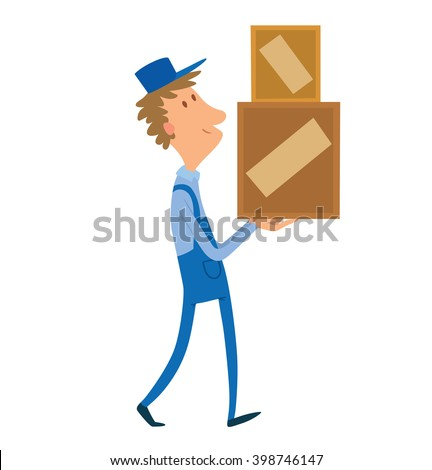 Vector cartoon image of a porter man with brown curly hair. Man in blue overalls and cap. Porter man is carrying two square yellow-brown boxes in his hands. Cartoon loader man.  Vector illustration.  - stock vector