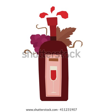 Vector cartoon image of a red wine bottle with purple grapes, brown leaves and label with a glass of red wine on a white background. Bottle of wine. Vector illustration. - stock vector