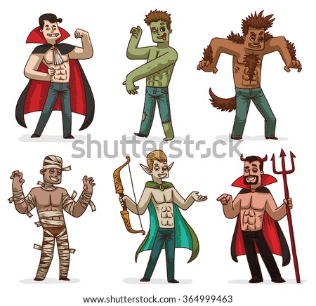 Vector cartoon image of a set of various handsome men in Halloween costumes: Dracula, zombie, werewolf, mummy, Elf and devil on a white background. Holiday, Halloween. Vector illustration. - stock vector