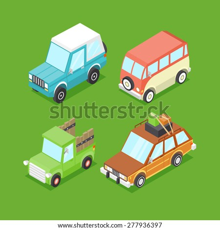 Vector Cartoon Isometric Cars - stock vector