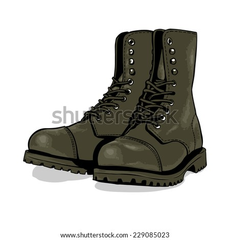 Vector Cartoon Khaki Army Boots - stock vector