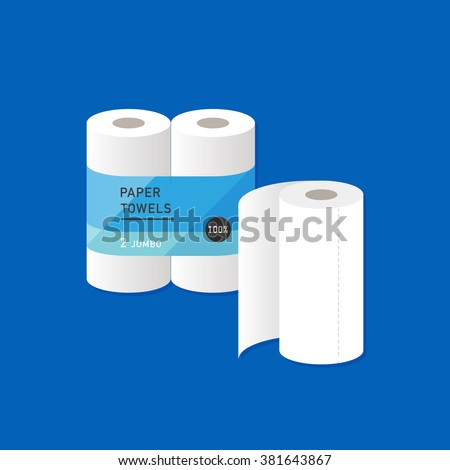vector cartoon kitchen paper towel / package, wrapping design / flat style, icon template / blue background - stock vector