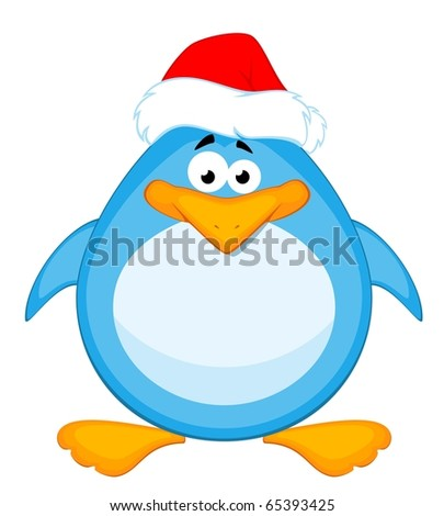 Vector cartoon little penguin - stock vector