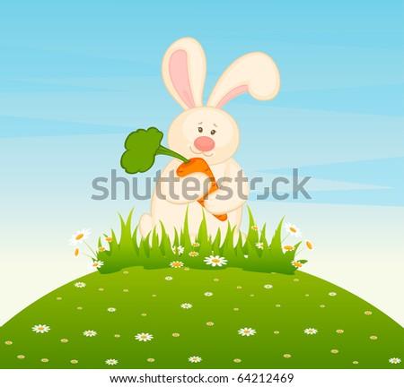 Vector cartoon little toy bunny - stock vector