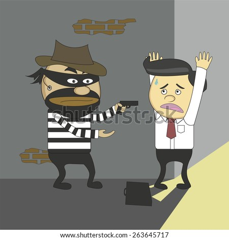 Vector cartoon masked bandits are robbing money business. - stock vector