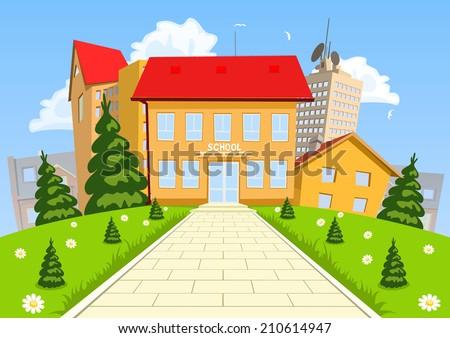 Vector cartoon modern school building - stock vector