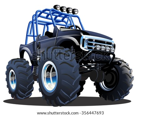 Vector Cartoon Monster Truck. Available EPS-10 separated by groups and layers - stock vector