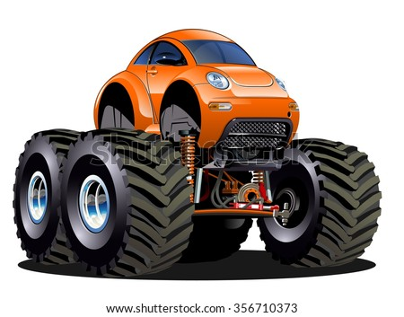 Vector Cartoon Monster Truck one-click repaint. Available EPS-10 vector format separated by groups and layers for easy edit - stock vector