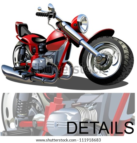 Vector Cartoon Motobike - stock vector