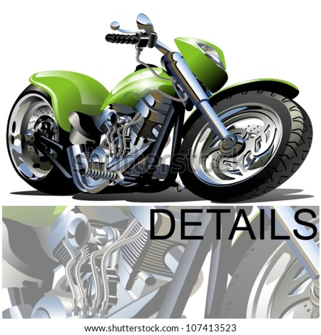 Vector Cartoon Motobike one-click repaint option - stock vector