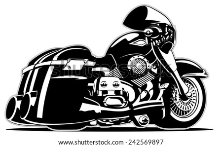Vector Cartoon Motorbike. Available EPS-8 vector format separated by layers for easy edit - stock vector
