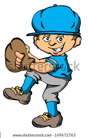 Vector cartoon of a boy about to throw a baseball pitch ...