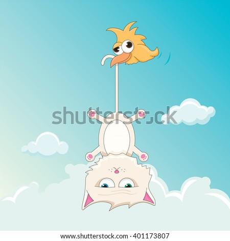 vector cartoon of a flying cat - stock vector