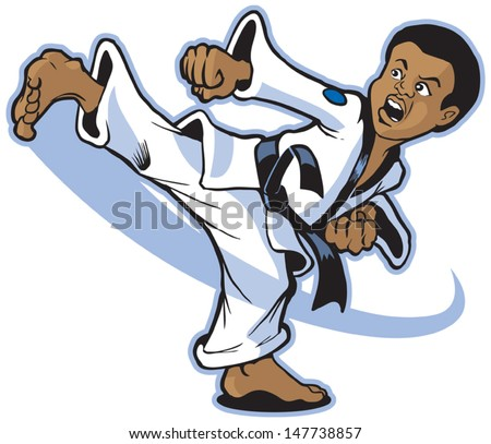 Vector cartoon of a young African boy martial artist executing a spinning back kick. - stock vector