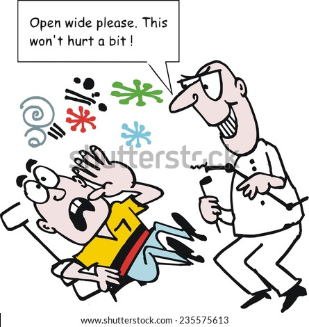 Vector cartoon of aggressive dentist with terrified patient in chair.  - stock vector