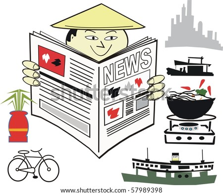 Vector cartoon of Asian man reading newspaper with oriental background. - stock vector
