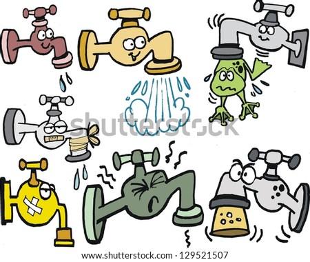 Vector cartoon of assorted taps, leaks and frog.. - stock vector