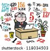 Vector cartoon of business man doing number calculations at desk. - stock vector