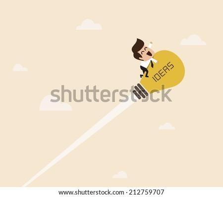 Vector cartoon of Businessman are flying with  lightbulb idea rocket - stock vector