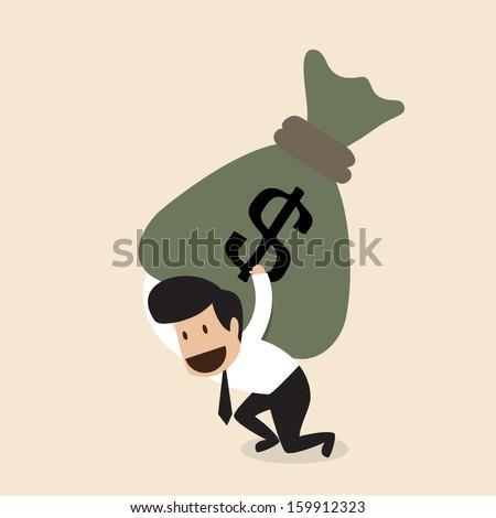 Vector cartoon of Businessman carry huge money bag - stock vector